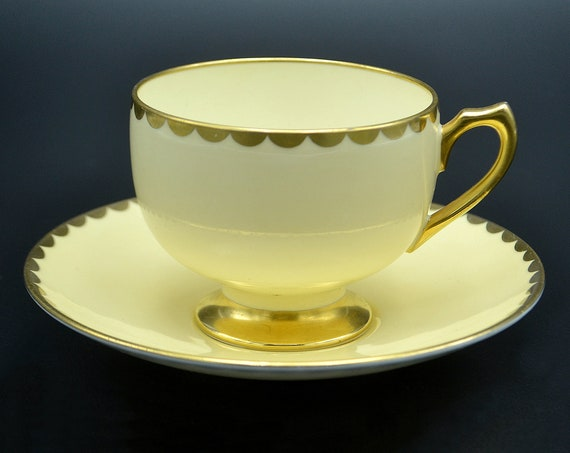 Shelley China Teacup and Saucer, Mid Century Shelley, Pale Yellow and Gold