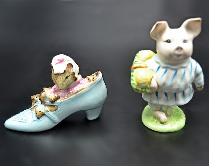 Royal Albert And Beswick Beatrix Potter Figurines, The Old Woman Who Lived In A Shoe, Early Little Pig Robinson, Gold Oval Beswick