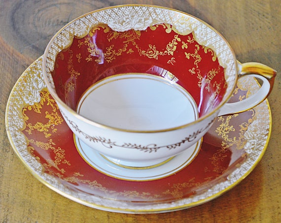 Crown Staffordshire Teacup And Saucer, Pattern A15048, Red And Gold Cup And Saucer