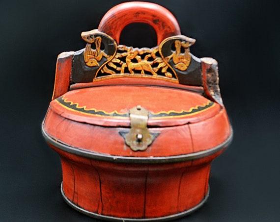 Antique Asian Wedding Basket, Chinese Wood Rice Basket