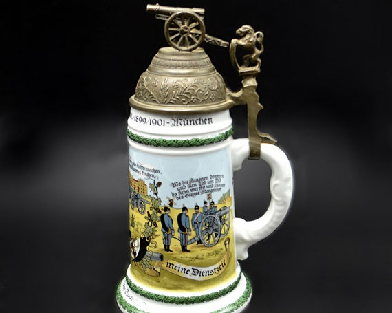 Regimental Beer Stein Reproduction, German Lithophane Stein