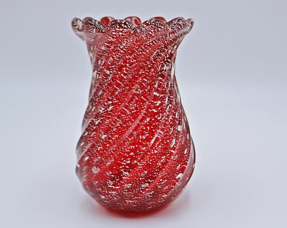 Murano, Cranberry Ribbed Vase With Silver Flecks, Art Glass, Italian Glass