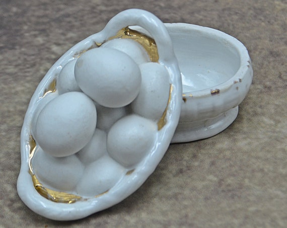 Eggs In Basket Trinket Box, Ring Dish