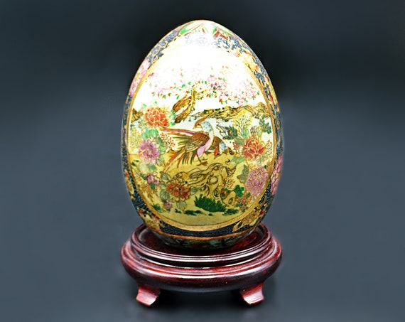 Chinese Satsuma Style Egg With Wood Stand