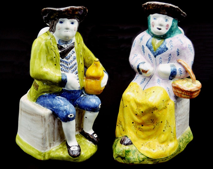 Vintage Pottery Jugs, Man And Woman Pitchers, Authorized Copies Of 18th Century Pottery, Made In Portugal