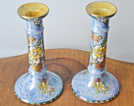 Royal Winton Grimwades Byzanta Ware Candlesticks, Mottled Blue Lustreware Candle Holders