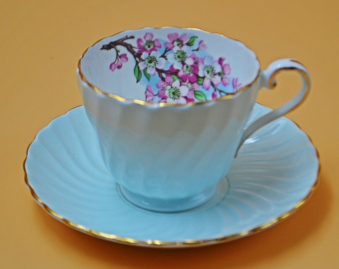 Aynsley Pale Green Cherry Blossom Teacup And Saucer