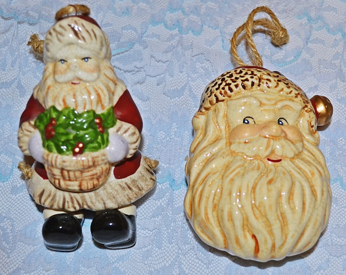Vintage Ceramic Santa Tree Ornaments, Movable Leg Santa, Santa Head