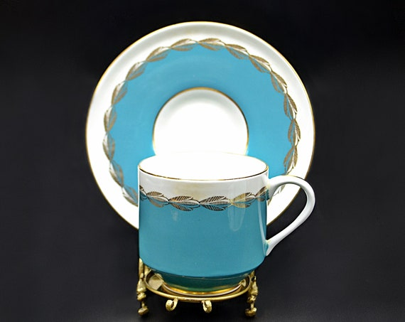 Aynsley Blue And White Demitasse Cup And Saucer