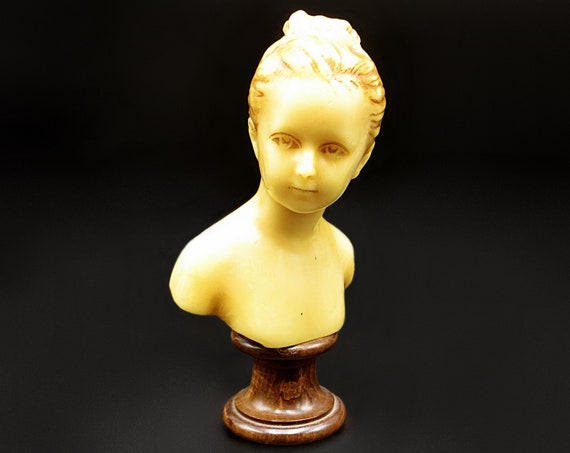 Antique French Wax Bust Of Woman, In The Style Of Jean Antoine Houdon Of Louise Brongniart