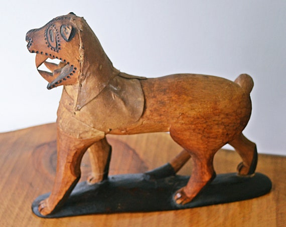 Vintage Sabre Tooth Cat Folk Art, Wild Cat Wood Carving, Primitive Carving