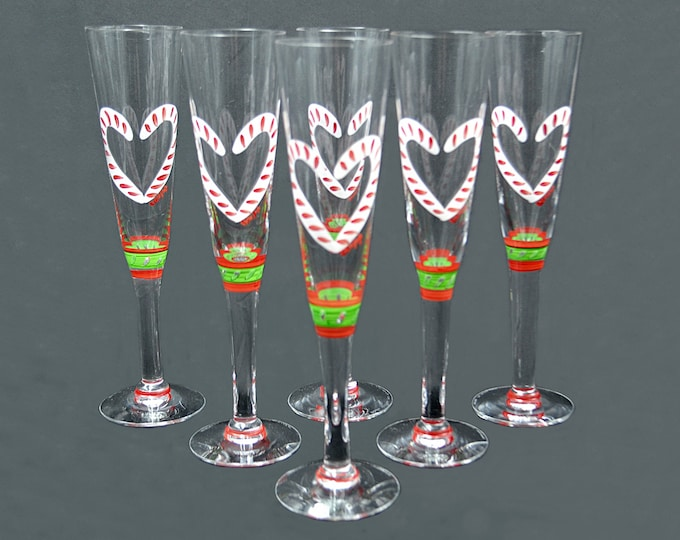 Set Of 6 Kosta Boda Ulrica Hydman-Vallien Candy Cane Champagne Flutes, Christmas Glasses