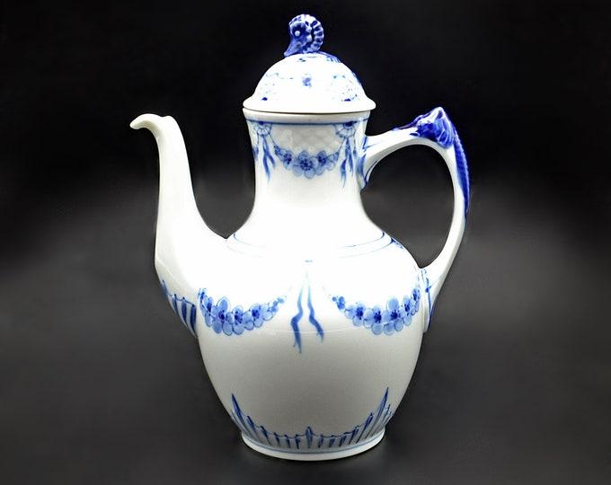 Bing And Grondahl Teapot, Blue And White, Seahorse Coffee Pot, Danish China, Royal Copenhagen