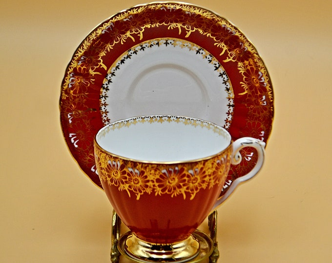 Royal Grafton Teacup And Saucer, A B Jones And Sons Ltd, Red And Gold