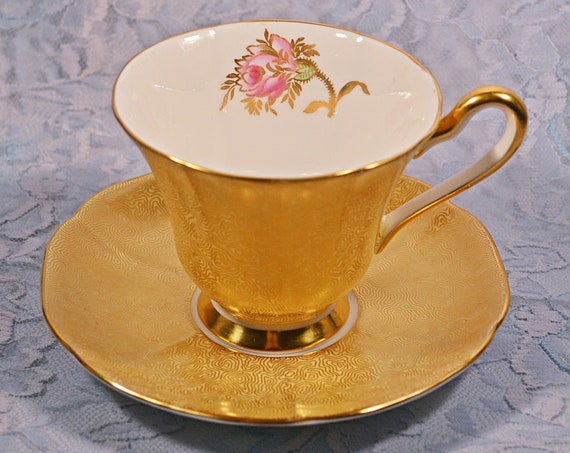 Tuscan Bone China Cup And Saucer, Gold Swirl And Rose Pattern, D1209