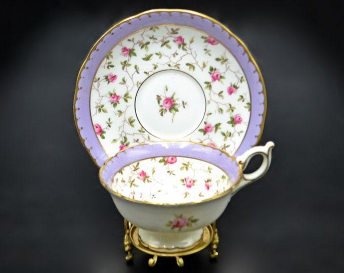 Antique Coalport Teacup And Saucer, Pink Roses