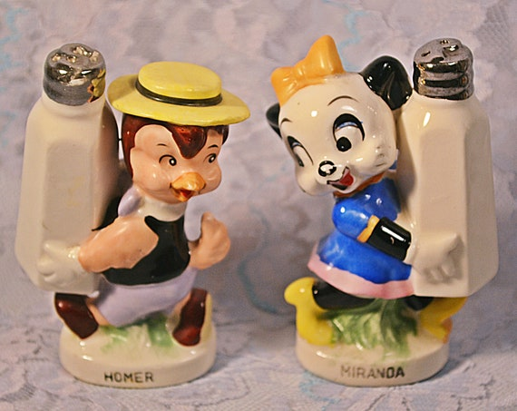 Walter Lantz Anthropomorphic Salt And Pepper Shakers, Cartoon Characters, Figural Shakers
