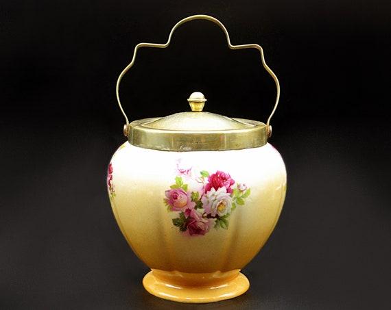 Antique Biscuit Barrel, Vintage Rose Design Cookie Jar