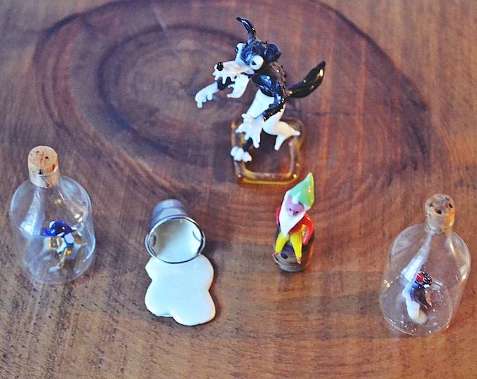 Glass And Porcelain Miniatures, Miniature Bottles With Glass Bird, Metal Milk Bucket, Miniature Glass Elf, Glass Big Bad Wolf