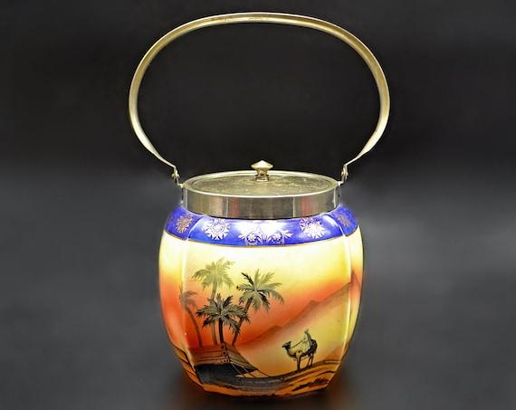 Vintage Biscuit Barrel, Pearlwhite Bohemia Cookie Jar, Bedouin Desert Scene