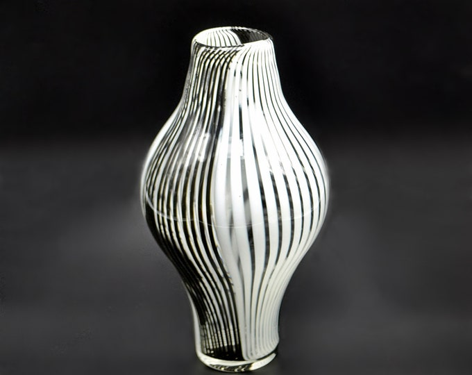 Vintage Blown Art Glass Vase, Black And White Stripe