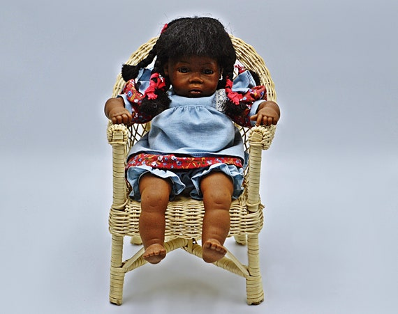 Heidi Ott Doll, Vintage Doll With Wicker Chair