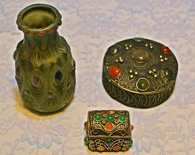 Vintage Metal And Stone Trinket Boxes And Cabinet Vase, Dresser Set