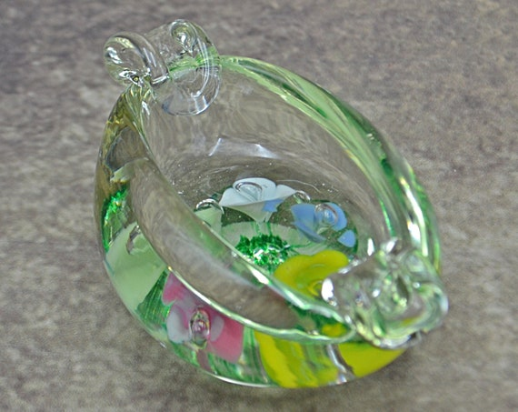 St Clair Art Glass Ashtray, Floral Blown Glass