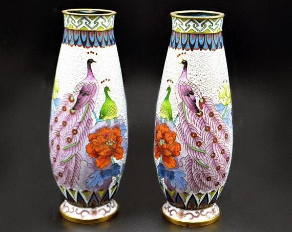 Cloisonné Peacock Vases