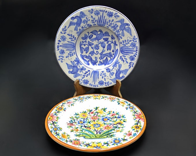 Vintage Deruta Italy Plates, Ceramic Decorative Plates