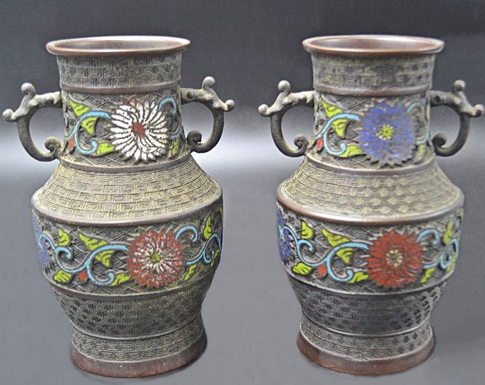 Antique Japanese Bronze Champlevé Vases