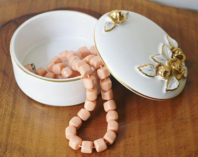 Pereiras Valado Portugal, Porcelain Trinket Box, White Porcelain With Gilt Roses
