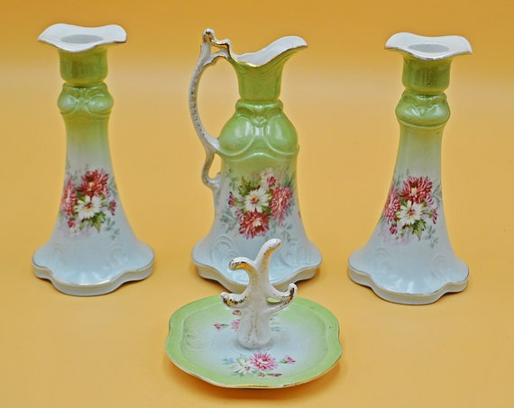 Antique German Porcelain Dresser Set, Green And White 4 Piece Vanity Set