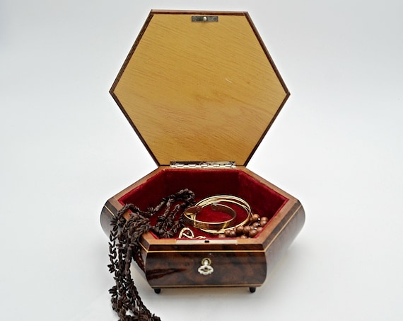 Lacquer Wood Jewelry Box, Hexagon Shape, Box With Key