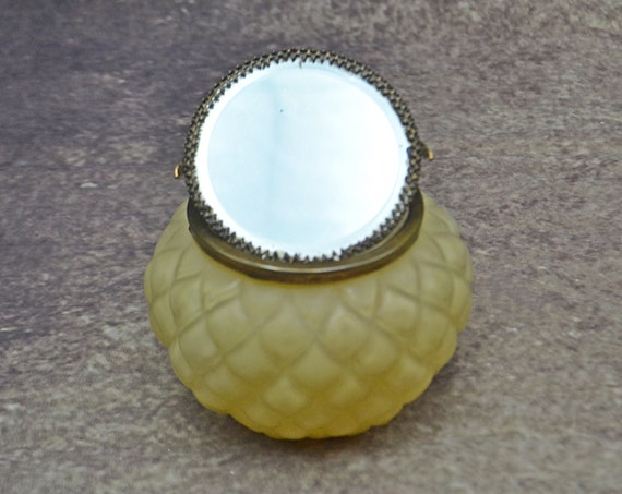 Antique Glass Mirrored Powder Jar, Tilt Mirror Lid Trinket Box, Beveled Glass