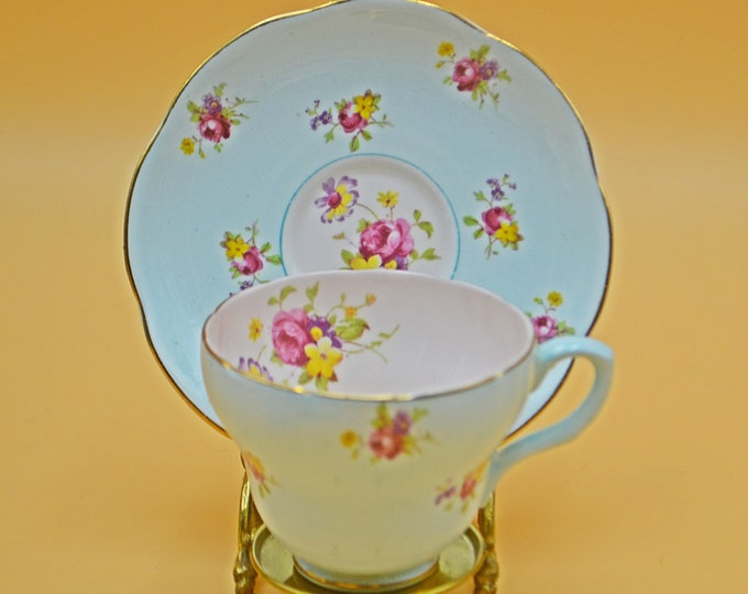 E B Foley Teacup And Saucer, Pastel Blue And Pink With Floral Bouquets