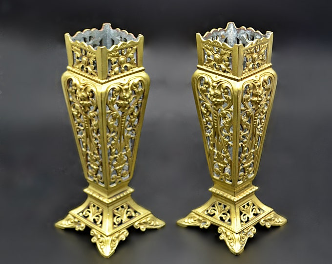 Antique Brass Vases,  Vintage Reticulated Vase, Pierced Brass