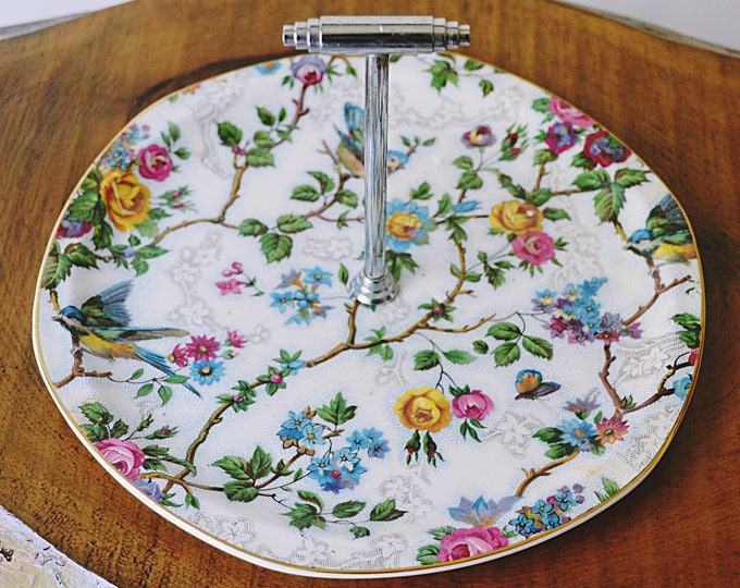 Baker Bros Tudor Ware Pastry Plate, Lorna Doone Chintz Pattern, Small Pastry Tray With Handle