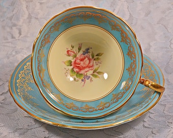 FREE SHIPPING Aynsley Teacup And Saucer, 6805,Turquoise, Pink Rose, Vintage Cup And Saucer