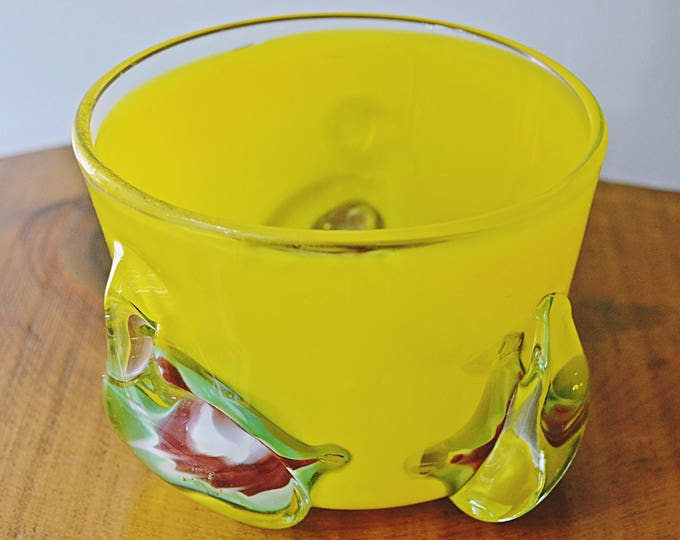 Art Glass Bowl, Yellow Abstract Bowl, Blown Glass Footed Bowl
