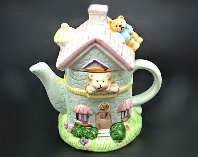 Teddy Bear Cottage Teapot, Novelty Teapot