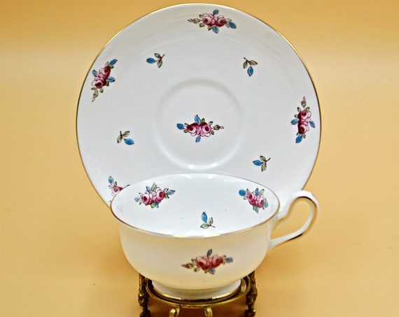 Royal Chelsea Teacup And Saucer, Floral Bud Pattern