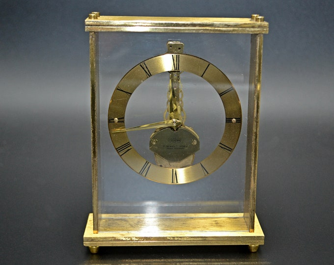 Uwestra West Germany Skeleton Mantel Clock, Brass And Lucite Clock, Working