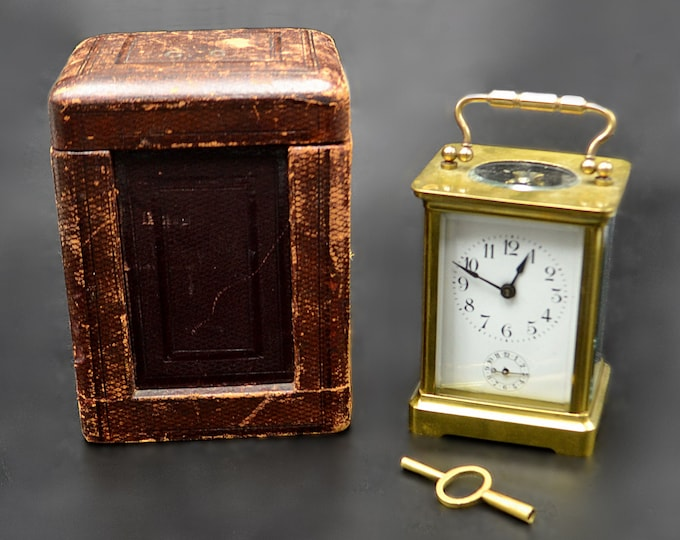 Working Antique French Carriage Alarm Clock In Leather Case