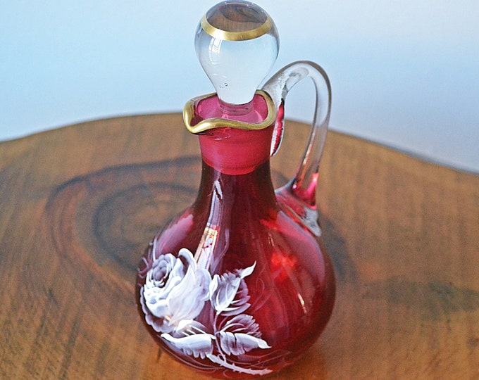 Cranberry Glass Cruet, Handpainted White Rose