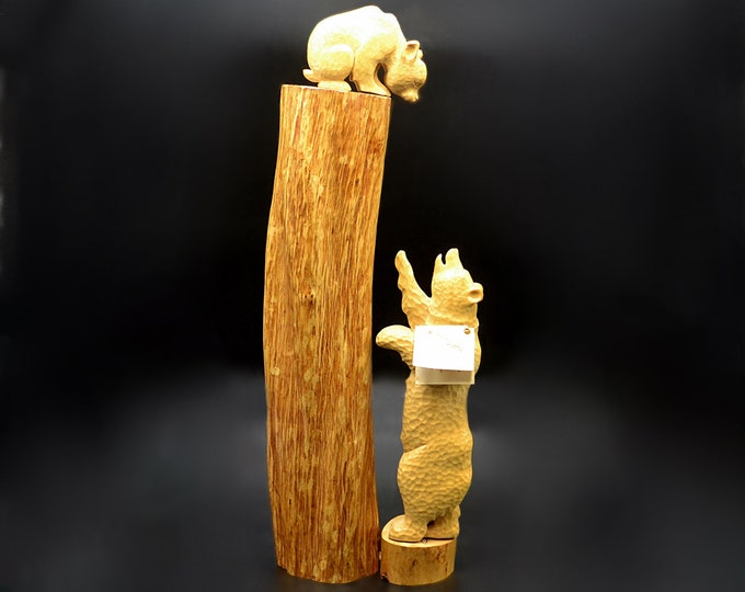 Tall Vintage Wood Bear Carving, The Indian Carver