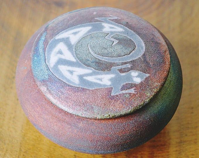Jeremy Diller Raku Dreamcatcher Jar, Signed By Artist, Trinket Box, Ring Box, Jewelry Box