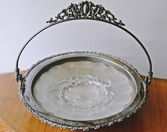 Silver Plate And Glass Serving Dish, Silver Plate Bowl With Handle, Footed Serving Dish