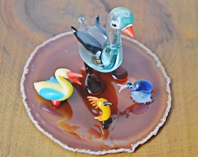 Art Glass Birds, Glass Goose On Orange Agate, Miniature Blown Glass Figurines