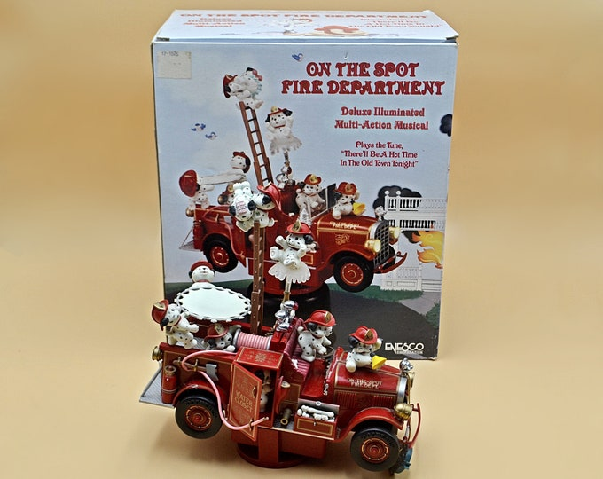 Enesco 1991 On The Spot Fire Department Musical Figurine, Moving Dalmatian Dog Plug In Decoration